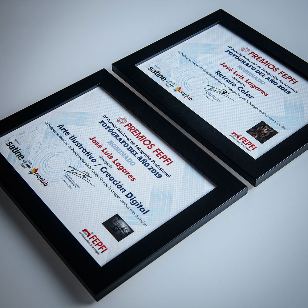 DIplomas acreditativos de nominación a los Premios FEPFI 2019 en Arte Ilustrativo y Retrato en color.