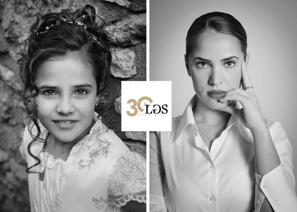Paso del tiempo, niña de comunión en blanco y negro junto a una foto de ella 12 años después